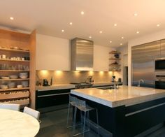 Kitchen, Stunning Modern Open Kitchen Design With Black Cabinet And White Granite Countertop Design Ideas: Kitchen Design Ideas With Granite Countertops
