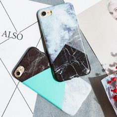 Fashion IMD Marble Pattern Case For iphone 7 Case For iphone7 7 Plus Phone Cases Funny Geometric Splice Stone image Back Cover