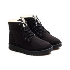 Concise Solid Color and Lace Up Design Women s Snow Boots ($27) ❤ liked on Polyvore featuring shoes, boots, black, black boots, black lace up boots, black snow boots, kohl shoes and lace up snow boots