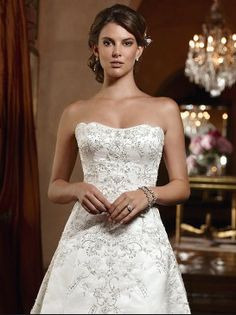 Casablanca 2032 - beaded and embroidered sleek satin w/ soft sweetheart neckline and scalloped trim along the side and back of the neckline