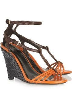 cec1b832a01b  Braided and woven leather wedge sandals by Burberry Prorsum Brown Leather  Sandals