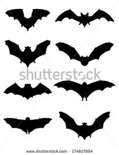 Black silhouettes of bats, vector - stock vector