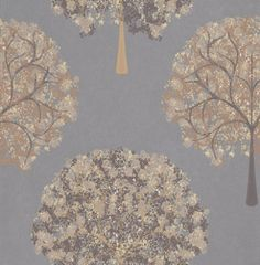 Impressions Truffle (1944/499) - Prestigious Wallpapers - A beautiful and contemporary tree design in a painted effect. Showing in mixed colours of gold, pale yellow and maroon on a purple/grey background - other colour ways available. Please request a sample for true colour match. Paste-the-wall product.