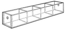 """Narrow Tray with Four 2 3/4""""-wide compartments. 2"""" H x12"""" W x 2 1/2"""" D"""
