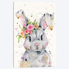 Little Miss Bunny Art Print by Sillier Than Sally - X-Small Painting Prints, Watercolor Paintings, Art Prints, Art Paintings, Lapin Art, Canvas Artwork, Canvas Prints, Miss Bunny, Bunny Painting