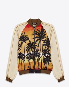 SAINT LAURENT TEDDY JACKET IN BEIGE, RED, YELLOW AND BLACK PALMS AT SUNSET PRINTED VISCOSE / Price: $2,600
