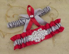 Silver Red Wedding Garter Set/ Crystal Rhinestone Ohio stage wedding garter