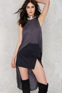 Nasty Gal Good Times Bad Times High Low Maxi Top - Slate Gray | Shop Clothes at Nasty Gal!