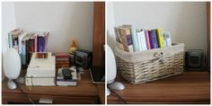 organized nightstand with book basket