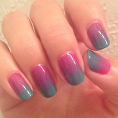 Magenta and turquoise collided today for my hombre manicure! :) Nail Polish: Essie - Naughty Nautical, Essie - The Girls Are Out, Seche Vite - Dry Fast Top Coat