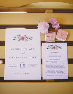 Elegant wedding invitation - white invitations with bright floral motif {Brandy Angel Photography}