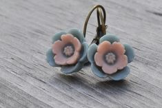 Blue and Pink Earrings Cherry Blossom Floral by leprintemps
