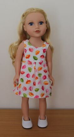 Floral White Sleeveless Summer Dress Dolls by SweetSewnups