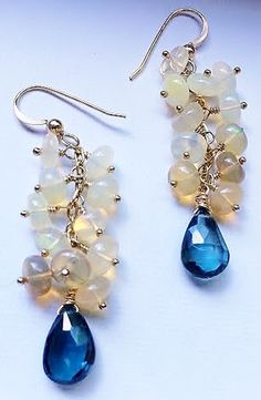 London Blue Topaz and Ethiopian Opal Gold Dangle Earrings – Sara Nolte Designs