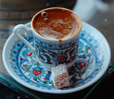 Turkish Coffee | 27 Delicious Turkish Foods Everyone Must Try True Turkish coffee is strong, thick, and best served with a fresh piece of Turkish Delight, baklava, or a slice of mozaik cake to take the bitter aftertaste away.