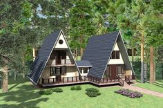 The bump-out leads to this in a few years A Frame Cabin Plans, Cabin House Plans, Tiny House Cabin, Cabin Homes, Small House Plans, Triangle House, Casas Containers, House In The Woods, Future House