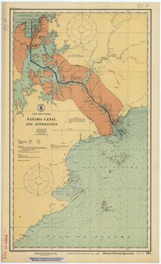 Panama Canal Map and Approaches - Historical Chart 1923 Vintage Maps, Antique Maps, Bel Art, Nautical Chart, Panama Canal, Old Maps, Historical Maps, World History, American History