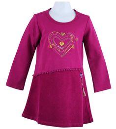 corduroy skirted stretch fleece heart dress in raisin