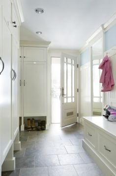 mudroom  love the spot for wet shoes under cabinets by madstyle