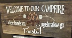 WELCOME TO OUR CAMPFIRE/FRIENDS AND MARSHMALLOWS GET TOASTED/CAMPFIRE SIGN/COTTAGE SIGN WHEN PURCHASING THIS SIGN THE SIGN WILL AUTOMATICALLY COME AS THE SIGN IN THE FIRST PHOTO. IF YOU PREFER ANOTHER SIGN IN THE PHOTOS SHOWN THEN PLEASE CONTACT ME FOR A QUOTE AND I CAN SEND YOU A CUSTOM PURCHASE ORDER. THE FIRST SIGN SHOWN IN THE PHOTO IS $50 CANADIAN. PRICES VARY FOR CUSTOM ORDERS.  WOOD SIGN PAINTED IN DARK WALNUT STAIN AND COATED WITH 5 COATS OF OUTDOOR SEALANT. THE PRICE SHOWN IS FOR…