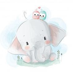 Baby shower childish print with cute baby elephant on rainbow Baby Elephant Drawing, Baby Animal Drawings, Cute Baby Elephant, Small Elephant, Little Elephant, Elephant Art, Cute Drawings, Cute Elephant Cartoon, Elephant Watercolor