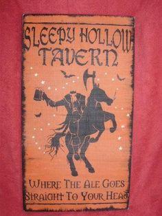 primitive sleepy hollow tavern pub sign headless horseman new york folk art halloween decorations pumpkinhead jack spooky witches custom