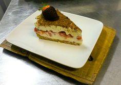 White chocolate and strawberry cheesecake