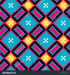 Fuse Bead Patterns, Mosaic Patterns, Abstract Pattern, Beading Patterns, Embroidery Patterns, Cross Stitch Geometric, Geometric Art, Cross Stitch Patterns, Tapestry Crochet Patterns