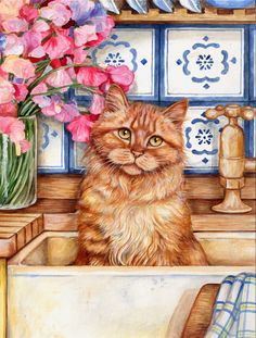 Cat In Sink by Debbie Cook Flag Canvas House Size CDCO0195CHF