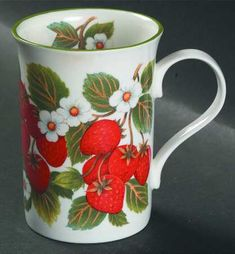 Strawberry Dinnerware Patterns   CROWN TRENT STRAWBERRY (GREEN TRIM) at Replacements, Ltd