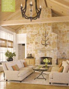 Rustic living room with wood ceilings