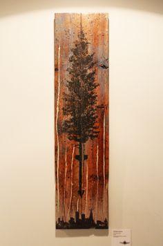 Urban Assault 2.  mixed media on vintage reclaimed white cedar planks.