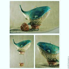 """Купить Воздушный шар """"Кит"""" - комбинированный, кит, Папье-маше, синий кит, дирижабль"""