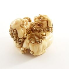 Mammoth Ivory Netsuke - Twin Chinese Lion