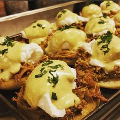 Pulled Pork Eggs Benedict with Poblano Hollandaise, what a yummy special from TRIO's Sunday Brunch!