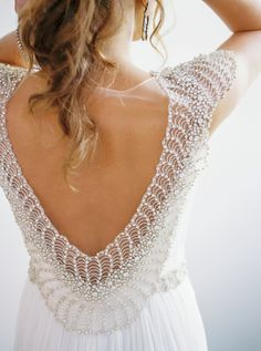 Embellished beaded scoop back wedding gown: http://www.stylemepretty.com/2016/12/29/5-beauty-looks-to-steal-for-your-big-day/ Photography: Alexandra Elise - http://www.alexandraelisephotography.com/