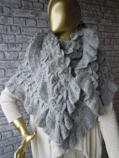 Oversized shawl Grey Women Shawl Crochet shawl by bosphorusscarf