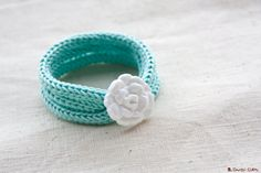French knitted  tripple bracelet with button  by LaMauvaiseGraine, €12.00