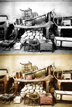 Under the lion bed in the antechamber are several boxes and chests, and an ebony and ivory chair which Tutankhamun used as a child.
