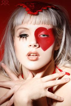 Red heart eye makeup / costume makeup / face makeup. Queen of hearts? #makeup #eyes #eyeshadow #facepaint #red #heart #circus #bright #dark
