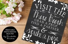Photo booth sign wedding photo booth chalkboard by PrintableWisdom, $5.00
