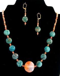 NECKLACE Blue Lace Agate Stone. Necklace Earrings by GECHELINE
