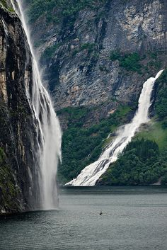 And her eyes can go way farther than this Brudesløret fall, Norway