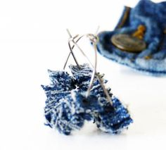 Upcycled Denim Earrings Blue Cowgirl Jewelry by TrashN2Tees. $15.00, via Etsy.