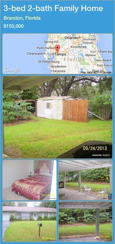 3-bed 2-bath Family Home in Brandon, Florida ►$150,000 #PropertyForSaleFlorida http://florida-magic.com/properties/46260-family-home-for-sale-in-brandon-florida-with-3-bedroom-2-bathroom