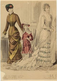 Woman in bridal gown, with woman and child1884