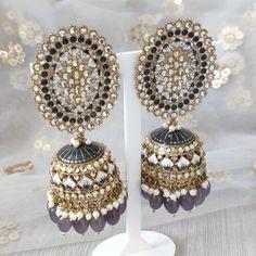 Jhumki Earrings, Dangle Earrings, Diamond Earrings, Crochet Earrings, Silver Paint, Grey And Gold, Dangles, Jewelry, Fashion
