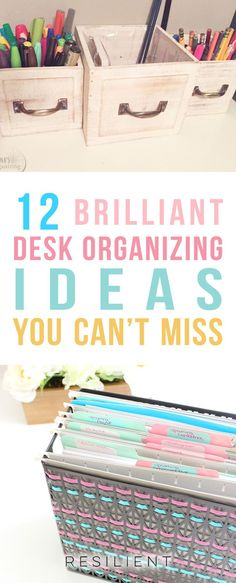 Is your office or desk space a cluttered mess? Are you finding it hard to be productive or get things done because you can't find anything and your desk is covered in papers and junk? Here are 12 genius desk organizing hacks to help get your home office t Declutter Your Home, Organizing Your Home, Organizing Tips, Organising, Cleaning Tips, Desk Organization Tips, Household Organization, Classroom Organization, Storage Ideas