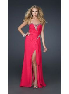 Sheath Sweetheart Chiffon and Sequins Long Prom Dress