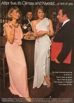 Swinging 70s dresses color photo print ad model magazine vintage fashions style pink white long ruffles
